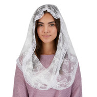 White Infinity Chapel Veil for adults.