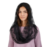 black lace infinity chapel veil for adults
