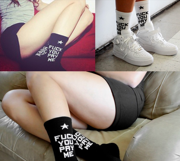 SSUR Fuck You Pay Me Socks in White, Black & Red