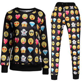 Black Emoji Jogger and Sweatshirt Set