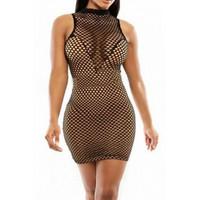 Tank Sleeveles Nude Illusion Net Sheath Mini Night Club Dress