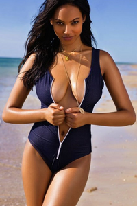 BrytCouture Stylish Blue One-piece Zipper-up Swimsuit