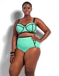 Plus Size High Waist Neoprene Bikini Swimwear Set Underwear XL to 4XL