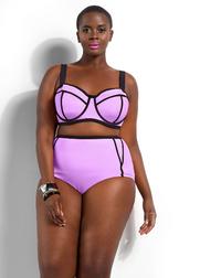 Plus Size High Waist Purple Bikini Swimwear Set Underwear XL to 4XL