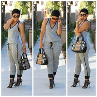Casual V Neck Drawstring Light Grey Polyester One-piece Jumpsuit