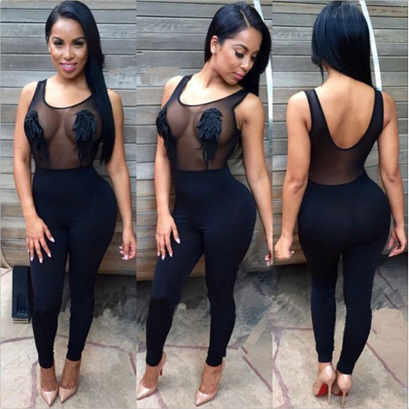 Tank Sleeves Mesh Patchwork One-Piece Polyester Jumpsuit - Black