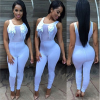 Tank Sleeves Mesh Patchwork One-Piece Polyester Jumpsuit - White