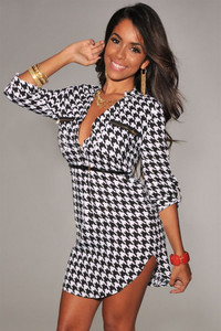 V Neck Three Quarter Sleeves Houndstooth Print Polyester Mini Shirt Dress