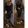 Long Sleeves Hollow-out Mesh Patchwork Black Polyester Dress