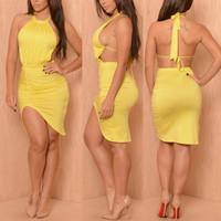 Backless Asymmetrical Yellow Blending Midi Dress