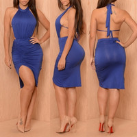 Backless Asymmetrical Blue Midi Dress