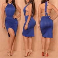 Backless Asymmetrical Blue Midi Dress