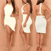 BrytCouture Backless Asymmetrical White Midi Dress