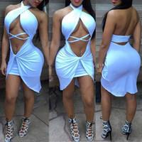 Sexy V Neck Asymmetrical Backless White Cotton Blend Midi Dress