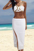 BrytCouture Sleeveless Metal Piece Decorated White Two-piece Set