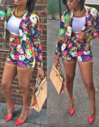 BrytCouture Long Sleeves Floral Print Two-piece Outfit (Coat+Shorts)