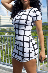 Short Sleeves Plaids Print White Mini Sheath Dress