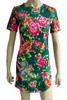 Brytcouture Short Sleeves Floral Print Mini Green Dress