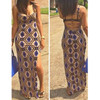 BrytCouture Spaghetti Strap Hollow-out Side Split Geometric Print Maxi Dress