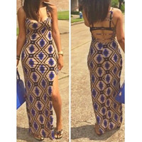 BrytCouture Spaghetti Strap Hollow-out Side Split Geometric Print Maxi Dress