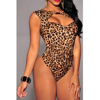 Sexy Front Cut-out Leopard One-piece Skinny Jumpsuit
