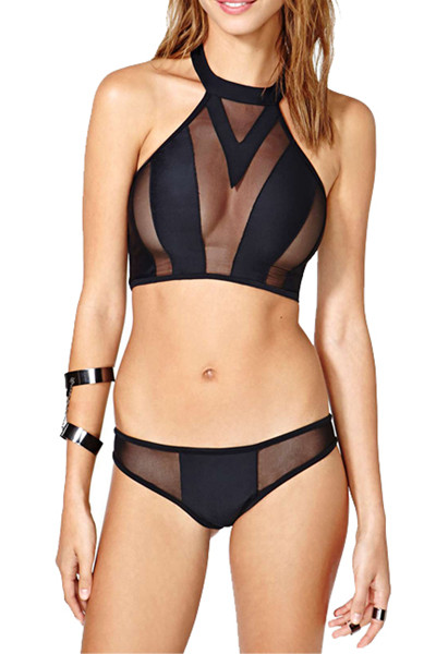 3ce385eceb4 Sexy Hollow-out Mesh Patchwork Black Two-piece Bikini Swimwear