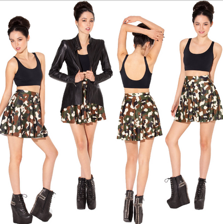 BrytCouture Limited Edition Pleated  Camo Print Mini Skirt