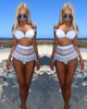 High Waist Women New Style 2 Piece White Bikini Swimsuit