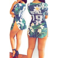 BrytCouture Short Sleeves Side Split Floral Print Mini Dress