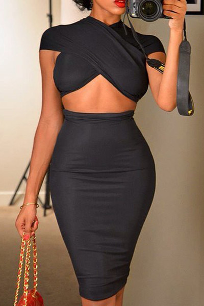Sexy Short Sleeves Solid Black Blending Two-piece Outfits