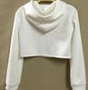 Flawless Long Sleeves White Blending Crop Hoodie