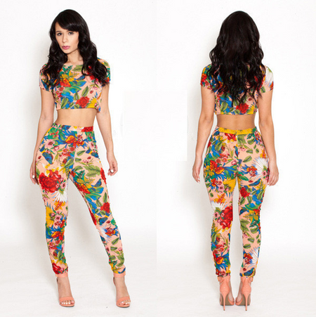 2 Piece Macacao Floral Print Bodycon Jumpsuit
