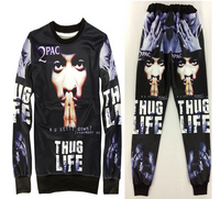 Tupac Thug Life Unisex Jogger Sweatpants and Sweatshirt Set