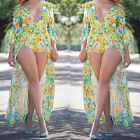 BrytCouture Three Quarter Sleeves Floral Print Chiffon Mini Dress