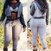BrytCouture Casual PU Patchwork Grey Cotton Blend Two-piece Hooded Sweat Set