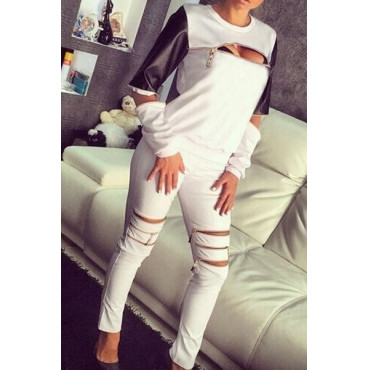Sexy Long Sleeves PU Patchwork Zipper Design White Spandex Pullover Sweat Set