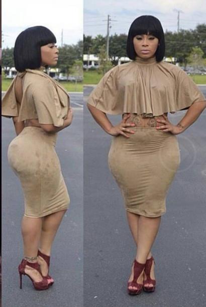 BrytCouture Turtle Neck Short Sleeves Khaki Cotton Blend Two-piece Skirt Set (Cloak+Skirt)