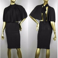 BrytCouture Turtle Neck Short Sleeves Black Cotton Blend Two-piece Skirt Set (Cloak+Skirt)