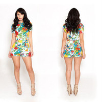Summer 2 Piece Vintage Floral Print Short Jumpsuit