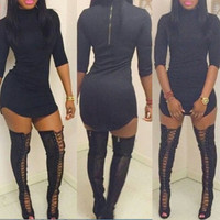 BrytCouture Half Sleeves Asymmetrical Turtle Neck Design Black Mini Dress