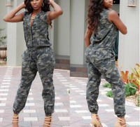 Military Camo Style Sleeveless Cotton Jumpsuits