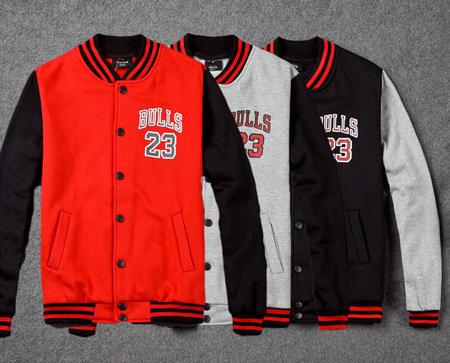BrytCouture Unisex Baseball Jordan 23 Bull Sweater - Red, Grey and Black