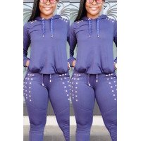 BrytCouture Casual Long Sleeves Blue Cotton Blend Two-Piece Sweat Set