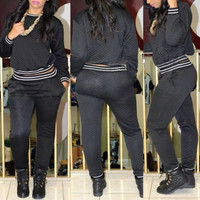 Casual Long Sleeves Black Spandex Two-piece Sweat Set