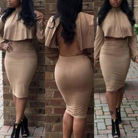 BrytCouture Turtle Neck Long Sleeves Khaki Cotton Blend Two-piece Skirt Set (Cloak+Skirt)