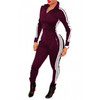 BrytCouture Casual Long Sleeves One-piece Skinny Jumpsuit - Wine Red