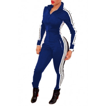 BrytCouture Casual Long Sleeves One-piece keyshia ka'oir Style Skinny Jumpsuit - Blue