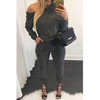 BrytCouture Oblique Shoulder Long Sleeves Solid Grey Polyester One-piece Jumpsuit