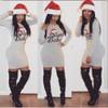 """Santa Baby"" Letters Print Grey Cotton Blend Sheath Mini Dress"