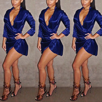 BrytCouture Sexy Asymmetrical V Neck Design Satin Mini Dress - Blue